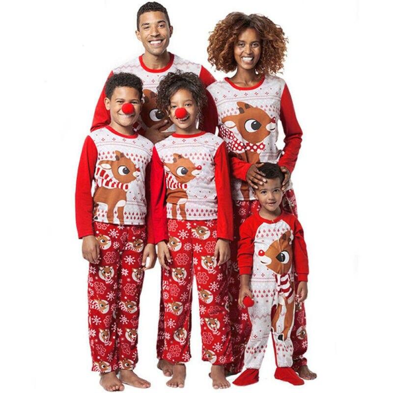 Christmas Family Matching Pajamas Set Adult Mens Womens Kids Sleepwear Nightwear Christmas Clothes Pajamas Set Cotton Sleep Suit