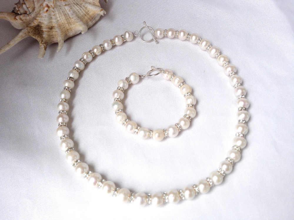 Trasporto>>>>> 9-10mm bianco genuine d'acqua dolce naturale della perla del rhinestone del braccialetto della collana set
