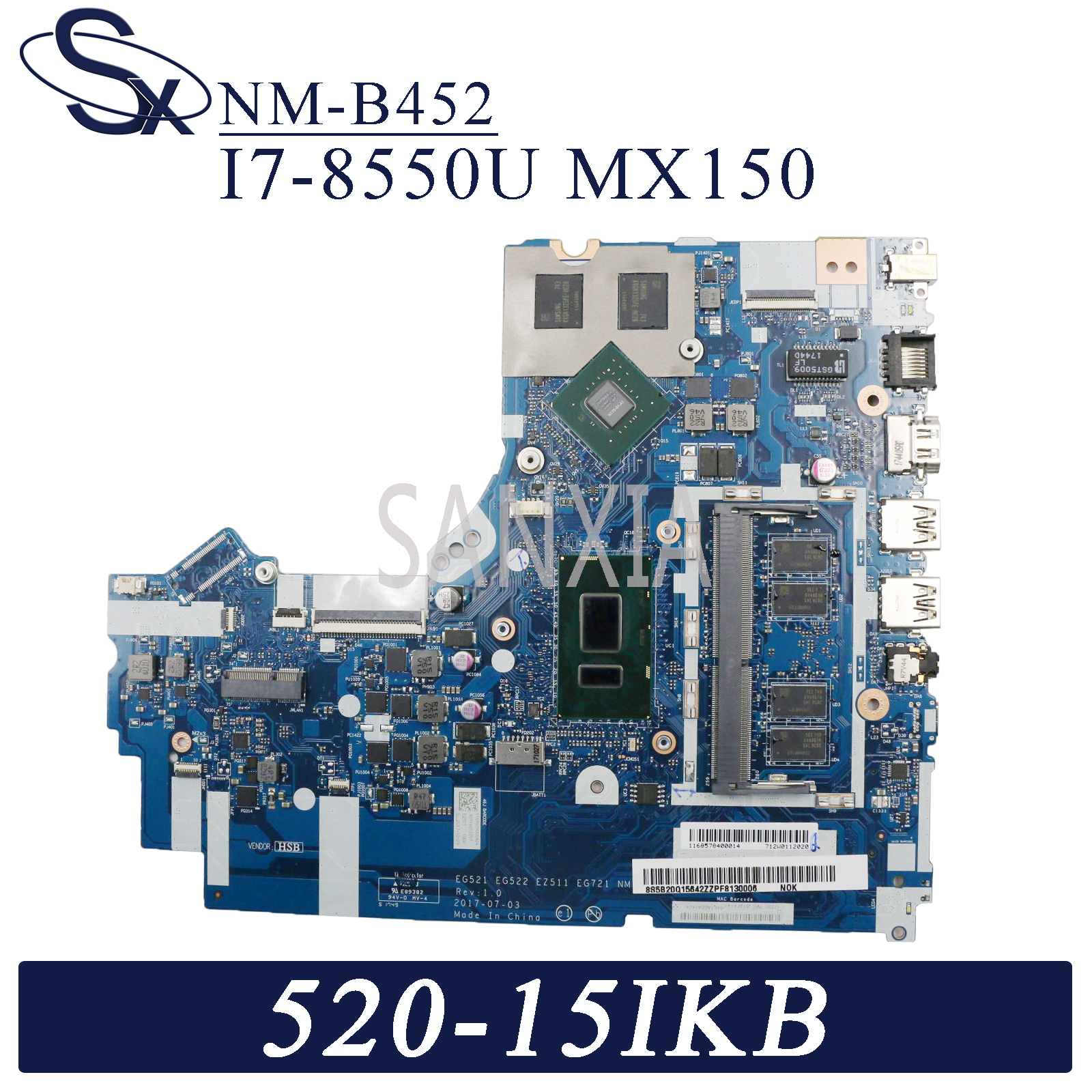 KEFU NM-B452 <font><b>Laptop</b></font> motherboard for Lenovo Ideapad 520-15IKB original mainboard 4GB-RAM I7-8550U <font><b>MX150</b></font> image