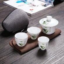купить Travel Bag Chinese Kung Fu Tea set gaiwan teapot teacups fair mug tea sets white ceramic puer Tea Drinkware Free shipping дешево