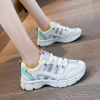 Women Platform Chunky Sneakers 2020 Autumn Designers Fashion Lace Up Casual Shoes Woman Breathable Old Dad Ladies orange