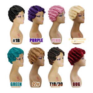 Image 4 - 아미르 레드 짧은 곱슬 가발 아프리카 계 미국인 여성을위한 브라운 블랙 핑거 웨이브 가발 합성 금발 머리 가발 코스프레