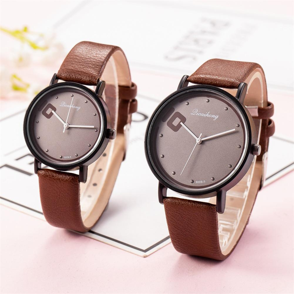 QICAIHONG Fashion Trendy Couple Watch Round Dial Big 10 Faux Leather Strap Analog Quartz Lover's Wrist Watches Zegarek Damski