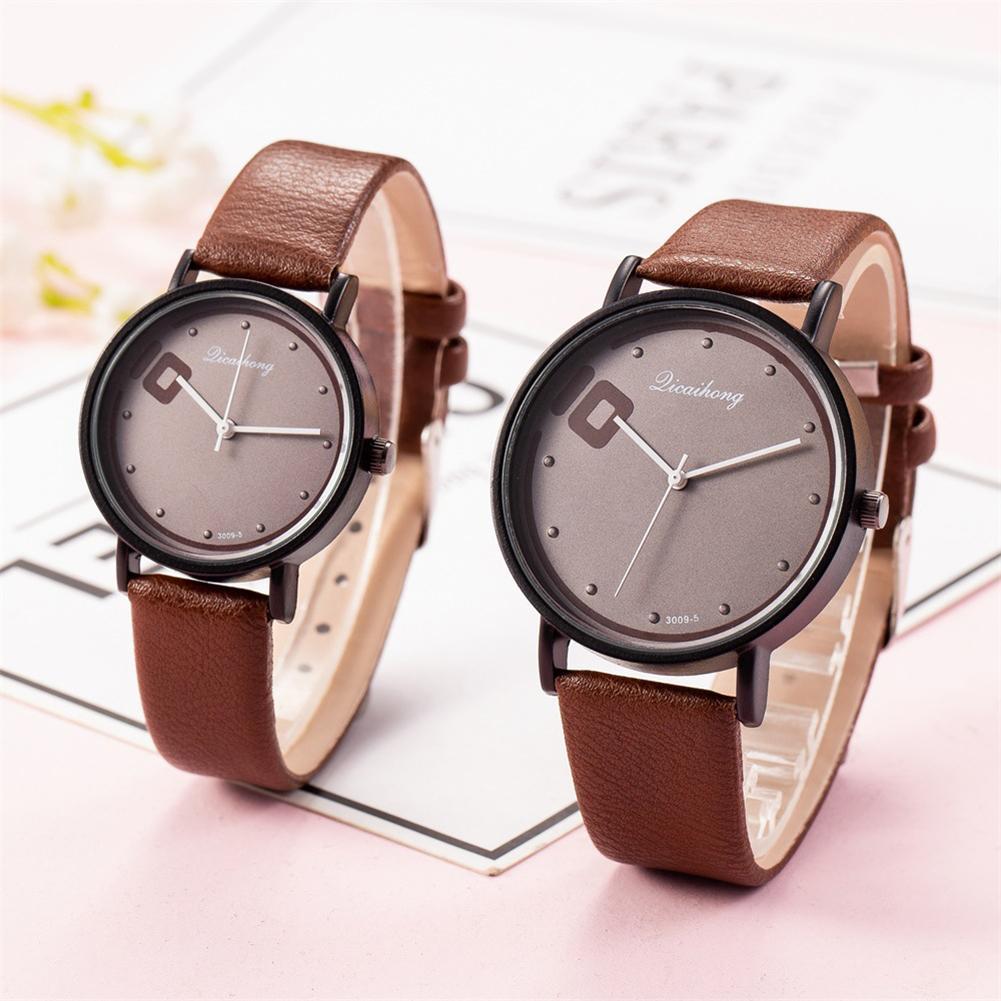 QICAIHONG Fashion Trendy Couple Watch Round Dial Big 10 Faux Leather Strap Analog Quartz Lover's Wrist Watches Zegarek Damski