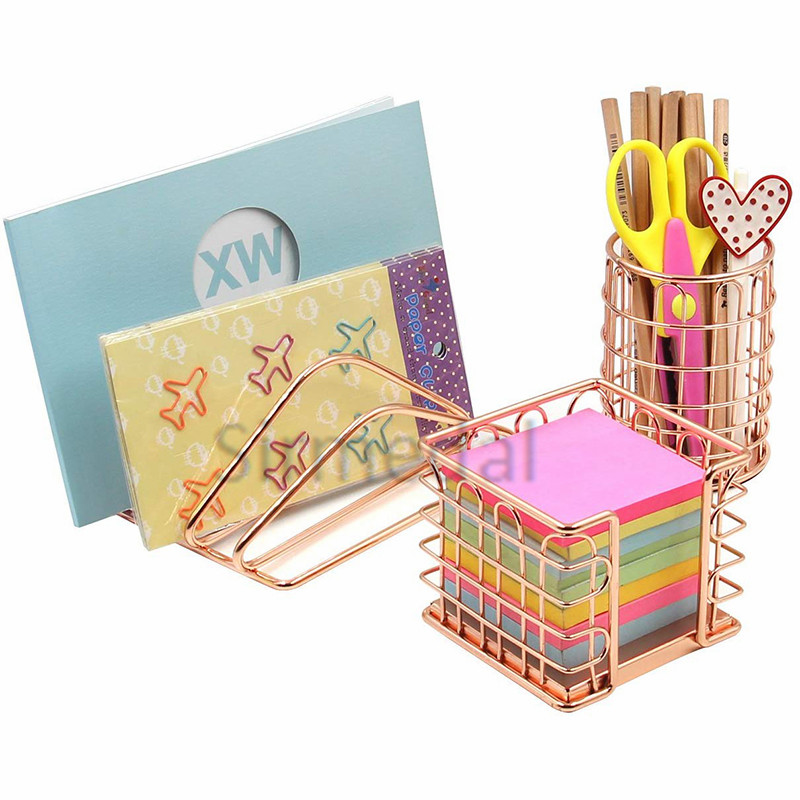 Rose Gold Office Supplies Accessories Desk Organizer Kit Letter Sorter Pen Holder and Sticky Holder for Home and Office Gift Set
