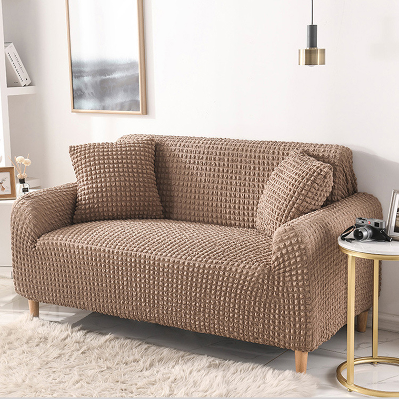 Solid Color Elastic Sofa Cover for Living Room Plaid Stretch Sectional Slipcovers Sofa Couch Cover L Shape 1-4 Seater
