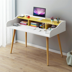 B2658 100cm podwójna warstwa uczeń pisanie biurko na laptopa ekonomiczne i kreatywne drewno proste biurko sypialnia nowoczesne biurko komputerowe w Biurka na laptopy od Meble na