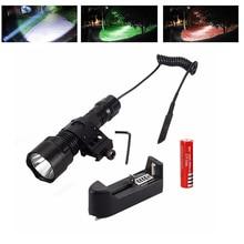 5000лм T6 светодиодный тактический светильник-вспышка охотничий фонарь светильник винтовка светильник s Picatinny Weaver крепление+ зарядное устройство+ аккумулятор 18650