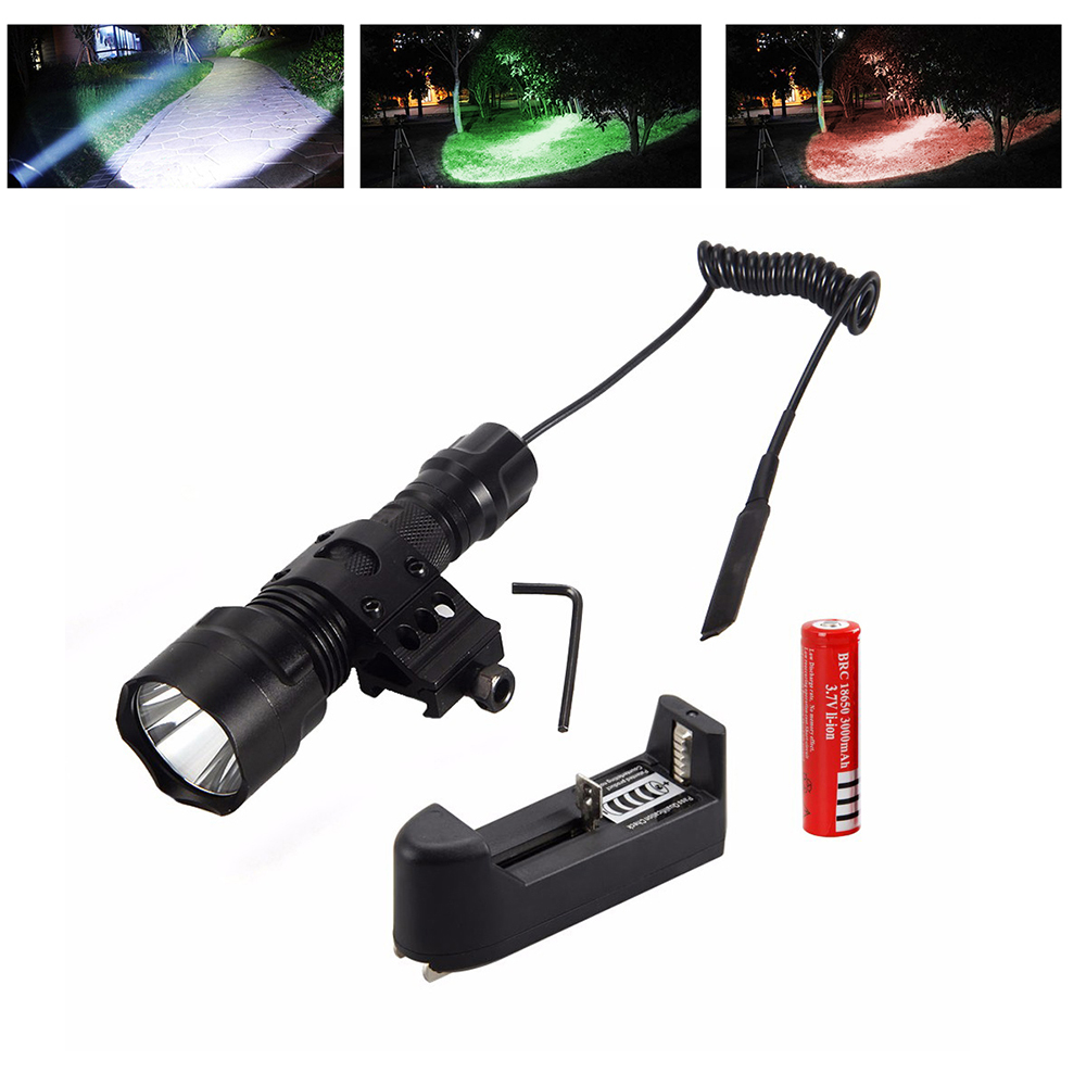 5000Lm T6 LED Tactical Flashlight Hunting Torch Light Rifle Lights Picatinny Weaver Mount +Charger+18650 Battery