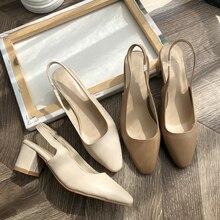 ¡Novedad de 2020! Sandalias Vintage con tacón, zapatos de mujer elegantes, zapatos de tacón de punta cuadrada, sandalias blancas a la moda para primavera y verano para mujer