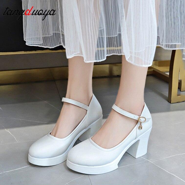 Black White Heels Women's Shoes Bridal Shoes Women Pumps Shoes Square High Heels Platform Heels For Women Wedding Shoes White