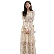 Vestido de encaje de manga larga de primavera para mujer vestido largo blanco por encima de la rodilla Maxi vestido talla grande Vintage vestido para mujer boda