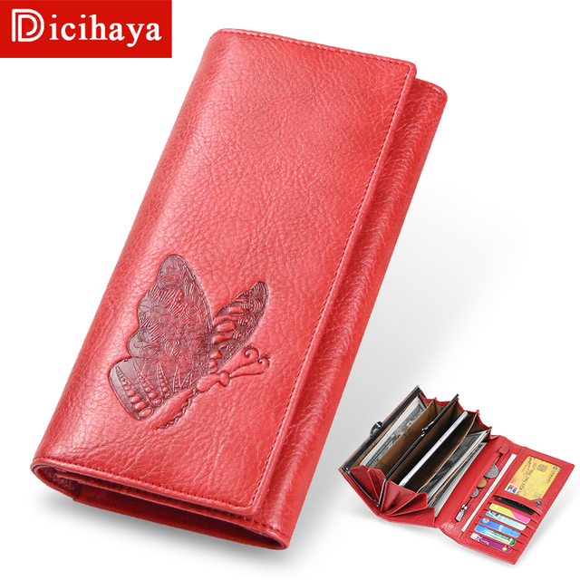 DICIHAYA Women Leather Wallet Long Purse Phone Pouch Butterfly Embossing Wallet Female Coin Purse Card Holders Carteira Feminina