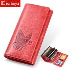 DICIHAYA portefeuille en cuir pour femmes, longue pochette pour téléphone, pochette de téléphone papillon en gaufrage, porte monnaie pour femmes, porte cartes
