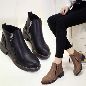 Winter Boots Ankle Zip Women Shoes Martin Boots Fashion Casual Shoes Woman Square Heel Med (3cm-5cm)  Round Toe Platform Shoes haraval handmade winter woman long boots luxury flock round toe soft heel shoes elegant casual warm retro buckle solid boots 289