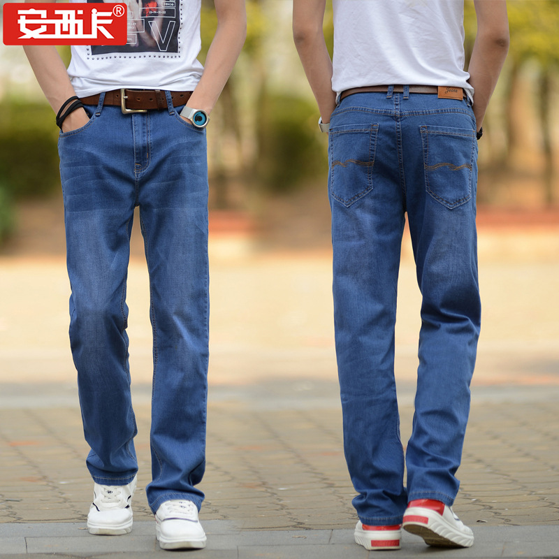 New Style MEN'S Wear Large Size Thin Loose Straight Jeans Men's Lard-bucket Ultra-stretch Loose Straight Jeans 031b