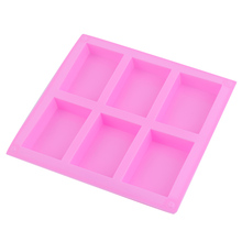 Silicone Handmade Soap Mold 6 Holes Rectangular Pastry Molds Silicone Cake Bakeware Molds stereo strawberry chocolate cake mold handmade soap silicone molds
