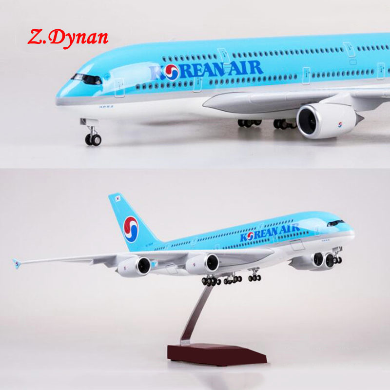 1/150 Scale 47CM Airplane A380 Boeing Aircraft Korean International Airline Model W Light and Wheel Diecast Plastic Resin Plane image