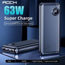 ROCK 20000 mAh Power Bank USB C PD Fast Quick 3.0 63W Portab