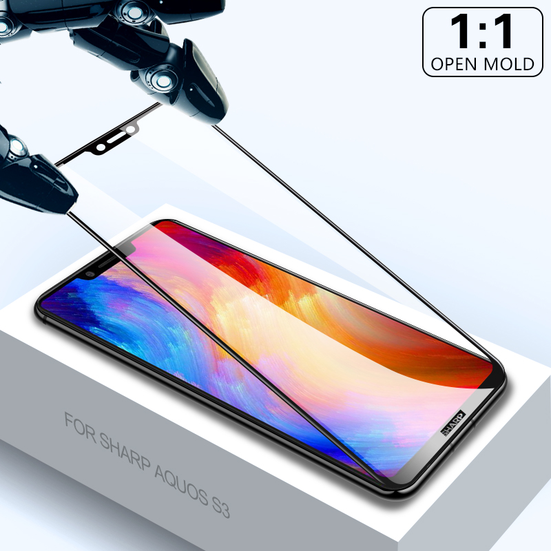 Tempered Glass for Sharp Aquos S3 s2 black 3D Full Cover Protective Glas Screen Protector for Sharp s3 mini s2