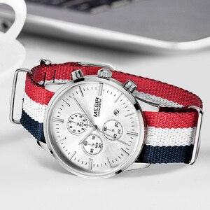Image 1 - MEGIR מקורי גברים שעון נשים שעונים אופנה ספורט קוורץ שעונים בד רצועת שעוני יד Relogio Masculino שעון גברים 2011