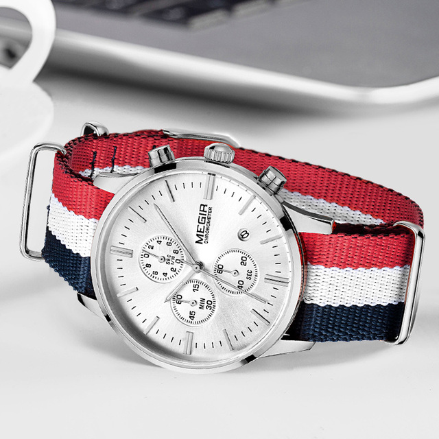 MEGIR מקורי גברים שעון נשים שעונים אופנה ספורט קוורץ שעונים בד רצועת שעוני יד Relogio Masculino שעון גברים 2011