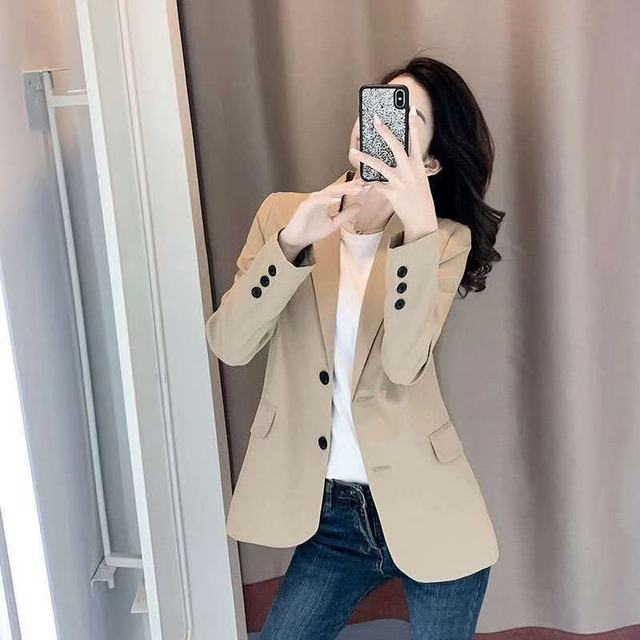 PEONFLY Women Blazer Office Jacket Ladies Fashion Single Breasted Long Sleeve Loose Coat Formal Casual For Spring Autumn 2021 3