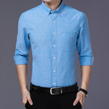 2019 autumn mens shirt fashion slim  solid color square collar business casual long-sleeved large size