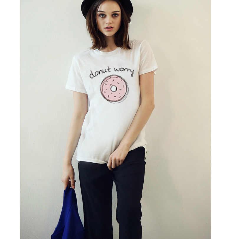 Donut Zorgen Print Brief vrouwen T-shirt Korte Mouw Harajuku Katoen Vrouwelijke T-shirt Zomer Stijl Camiseta Mujer Kleding Tops