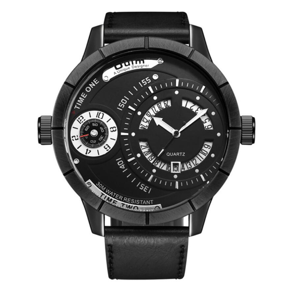 Top Luxury Brand Oulm Men <font><b>Watch</b></font> Fashion Men Sports <font><b>Watches</b></font> Two Time Zone Oversize <font><b>Watches</b></font> Men relogio masculino horloge man image