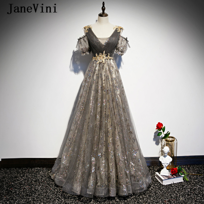 JaneVini 2020 Charming Tulle Ladies Prom Dresses Plus Size V Neck Appliques Beaded A Line Sparkly Long Party Gowns Floor Length