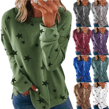 Winter Star Print Round Neck Women Pullover Tee Long Sleeve Loose Clothes Women & Couples plus size t-shirt winter star print round neck women pullover tee long sleeve loose clothes women