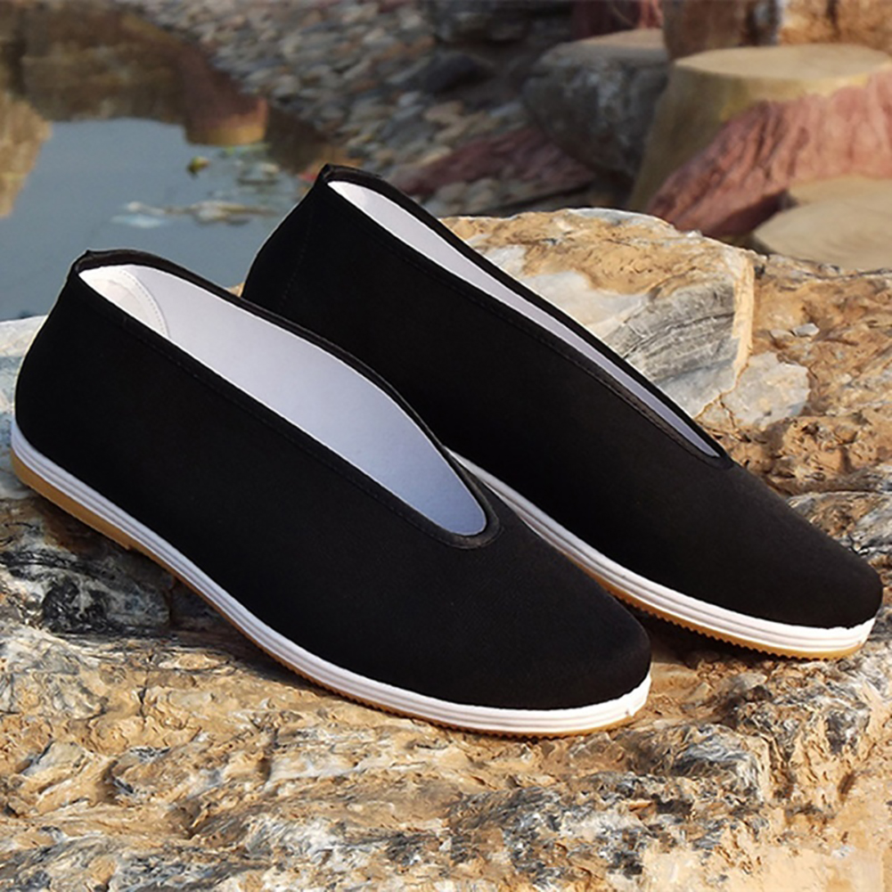 Quality Black Cotton Shoes Men s Traditional Chinese Kung Fu Cotton Cloth Wing Chun Tai chi