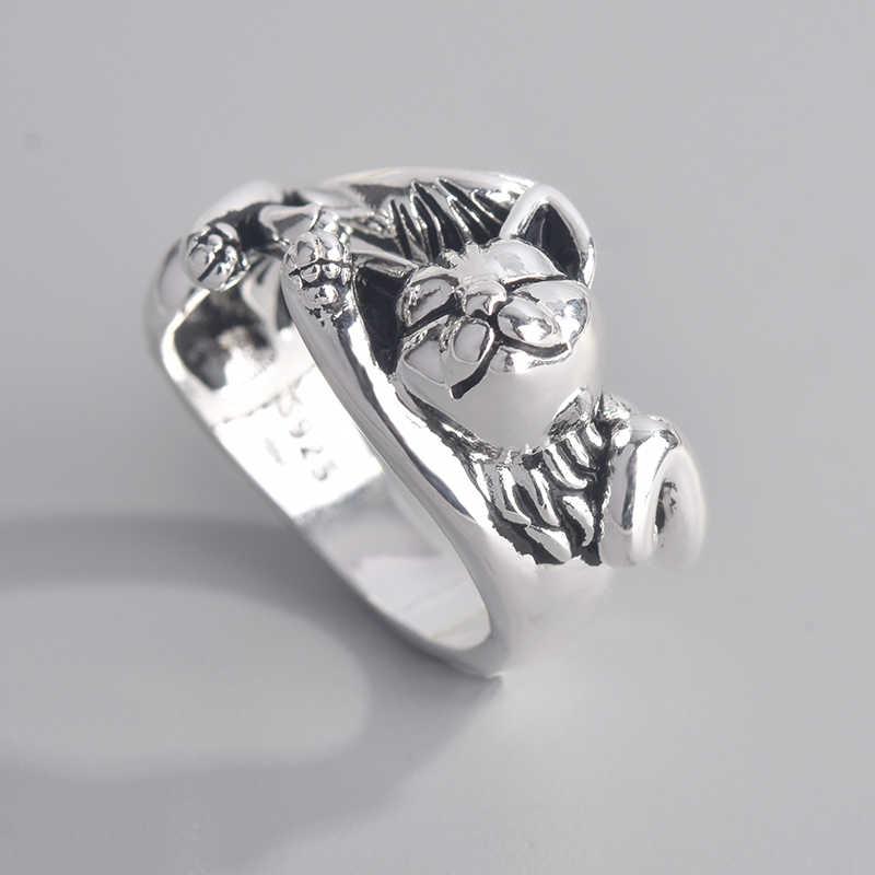 패션 레트로 절묘한 S925 타이어 새끼 고양이 토템 여는 조절 링 보석 결혼 결혼 선물 반지 여성을위한