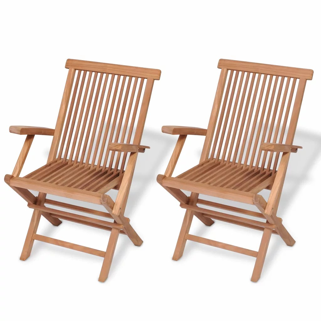 VidaXL Outdoor Chairs Wicker Chair Folding Garden Stools Wood Chairs Folding Chair 2 Pcs Outdoor Patio Furniture Patio  Chairs