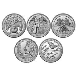 Набор из 5 шт., национальная парка США 2020, 51-55th памятная четверть монеты, 25 центов, оригинальная коллекция монет США
