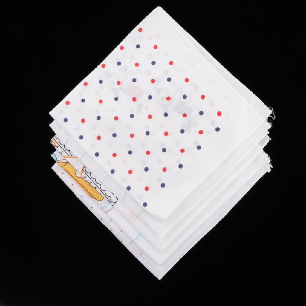 5pcs Chiffon Tea Towel Hankerchiefs Towel Hankie Washcloth Handkerchief Pouch