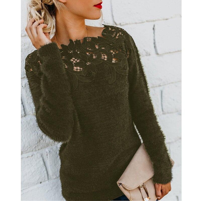 Gentillove 2019 Women Casual Fleece Plush Pullovers Sexy Lace Hollow Out Slash Neck Sweater Female Elegant Jumper Plus Size 5XL