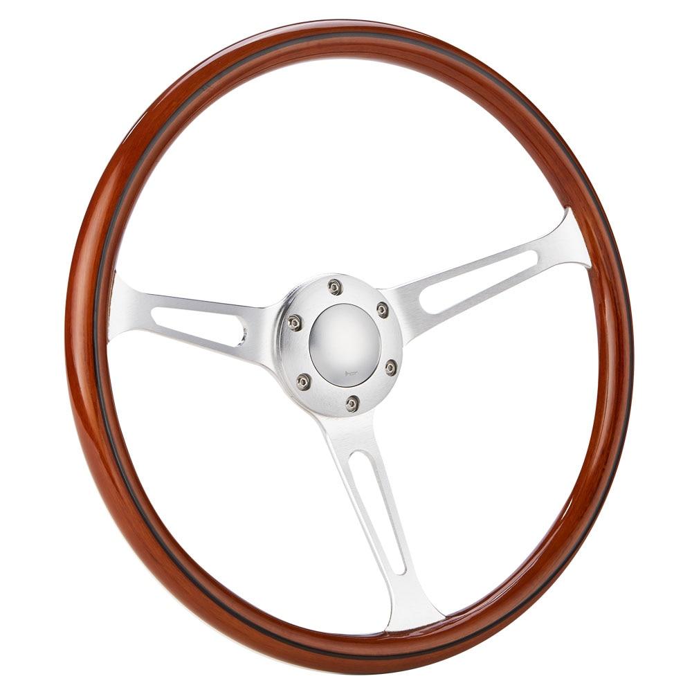 "350mm 14/"" Classic Wood w// Mirror Chrome Staineless Steel 3/"" Deep Steering Wheel"