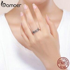 Image 5 - BAMOER מכירה לוהטת 925 סטרלינג כסף מלכת דבורה משושה ברור CZ גדול טבעת לנשים דבורה תכשיטים S925 SCR391