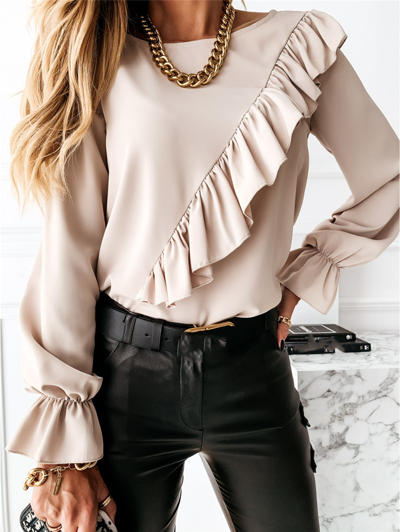 CHRONSTYLE Women Ruffle Shirt Blouse 2021 Solid Color Outwear Casual Long Flare Sleeve Loose Tops Long Sleeve Office Lady Shirts 6
