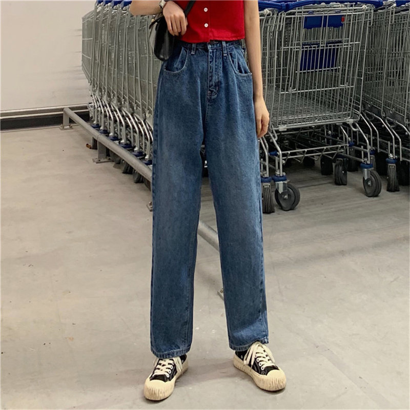 HziriP Blue All Match Large Size Autumn New Arrival Loose High Waist Jeans Loose Female Women Denim Straight Full Length Pants