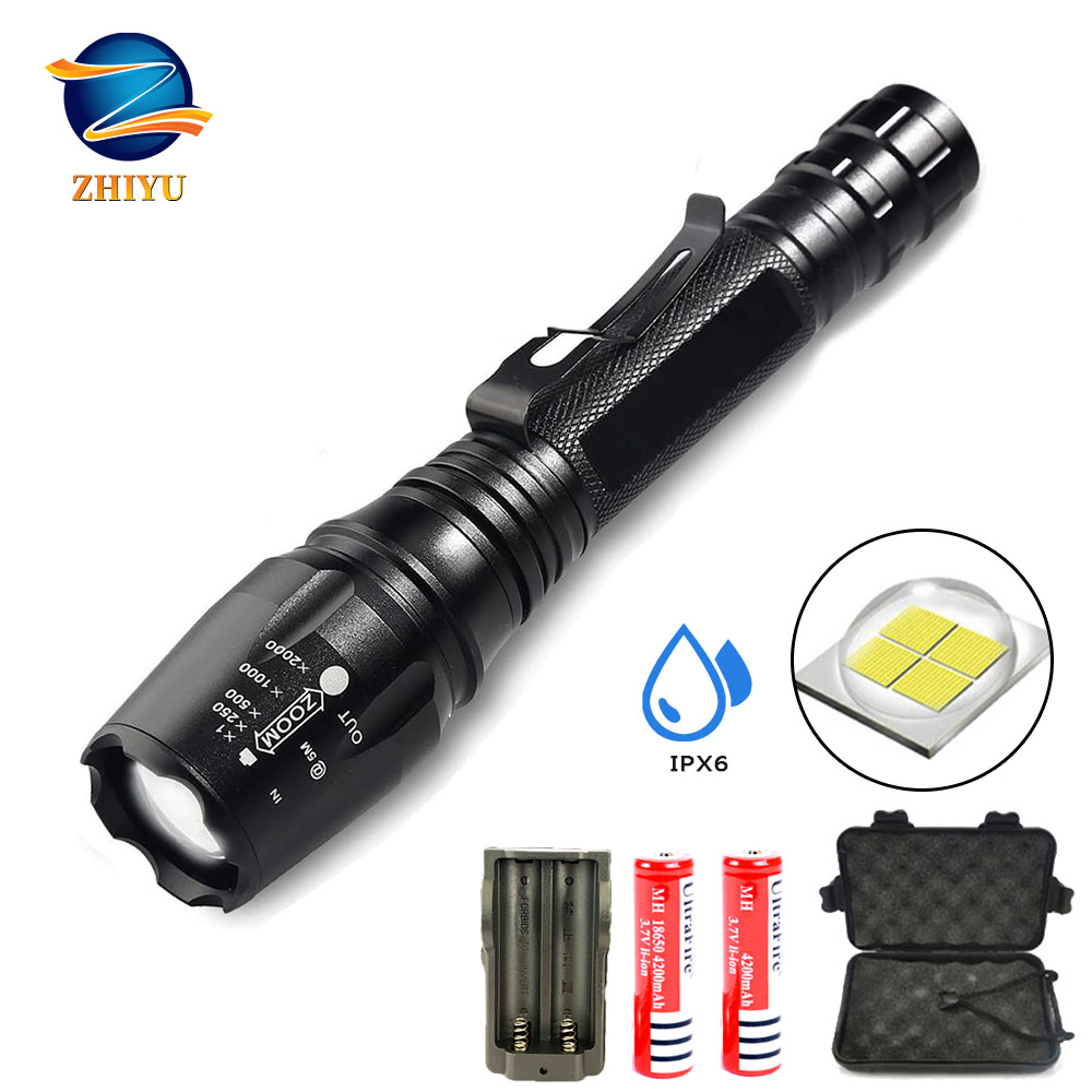 Brightest LED Tactical Military Flashlights 2000LM Super Bright Rechargeable T6 Zoomable 5 Modes LED Torch , Camping, Emergency