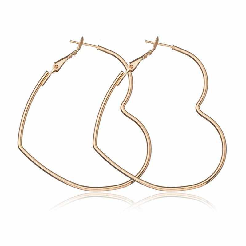 2019 neue Mode Hohl Pfirsich Herz Ohrring Metall Beschichtung Ornamente Einfache Baumeln Ohrringe Für Frauen Kupfer Brincos Schmuck