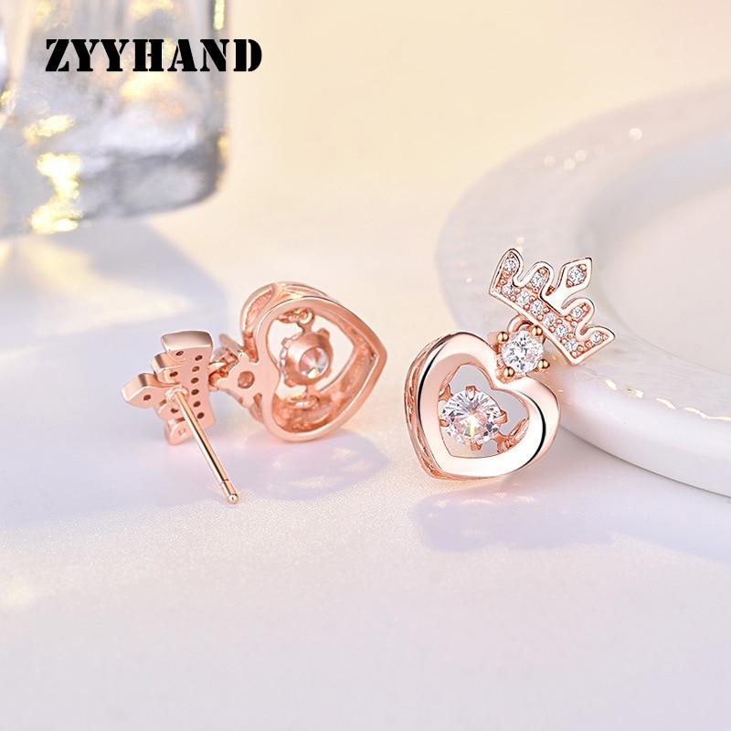 Rose Gold Crown Heart Alloy Stud Earring Women Elegant AAA Zircon Throbbing Sweet Cute Romantic Crown Girl Ear Jewellery