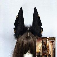 Original Beast Anubis Wolf Cat Dog Ears Black Hairband Hairhoop Headwear For Cosplay Costume Accessories Handmade Work