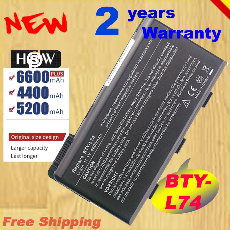 HSW Battery For MSI BTY-L74 BTY-L75 A5000 A6000 CR620 CR700 MS-1682 MS-1683 MS-1689 MS-168A MS-168B MSI MS-1681 6C Fast Shipping