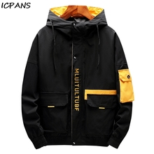 ICPANS 2019 Spring Autumn Japanese Harajuku Mens Hooded Jackets Casual Windbreaker Outerwear Streetwear Patchwork Fashion