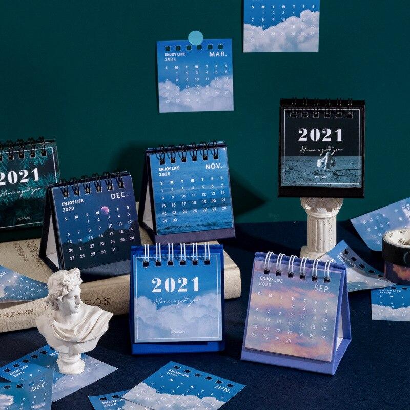2021 Sun Moon Star Series mini Desktop Paper landscape Calendar dual Daily Scheduler Table Planner Yearly Agenda Organizer 1