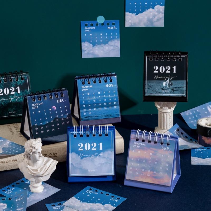 2021 Sun Moon Star Series mini Desktop Paper landscape Calendar dual Daily Scheduler Table Planner Yearly Agenda Organizer
